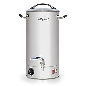 oneConcept Braufreund 18 Caldera de maceración con canilla - Dispensador de bebidas, Caldera para hacer cerveza, 18 litros, 1600 W, 30-110 °C, Termostato, Acero inoxidable 304, Plateado