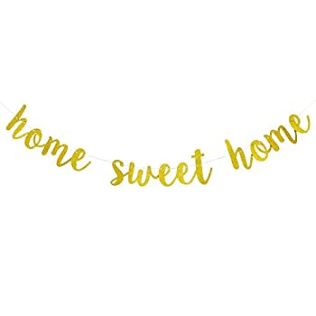 Gold Glitter Home Sweet Home Hanging Sign Banner Welcome Home Banner