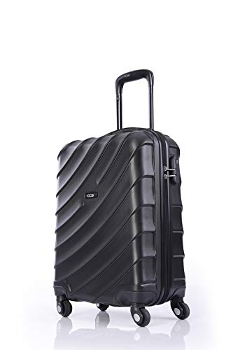 CCS 4 Wheels Suitcase Luggage Trolley Carry On Hand Hard Shell Travel Bag Lightweight (L, Black)
