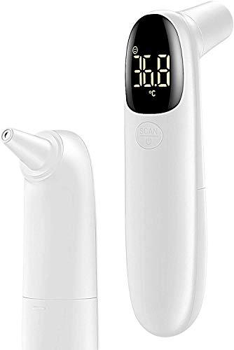 Fieberthermometer, Stirnthermometer Infrarot Kontaktlos Stirnthermometer und Ohrthermometer Digital mit Sofortige Messung Fieberalarm, Akkurates Thermometer für Babys Erwachsener und Objektoberfläche