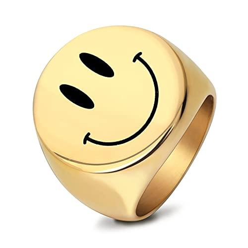 WLYX Anillo Sonriente, Anillo Ancho Y Grueso, Acero Inoxidable De Moda, Adecuado para El Anillo Hecho A Mano Egirl Eboy, Exquisito Anillo Masculino Y Femenino (Color : Gold, Size : 7-#)