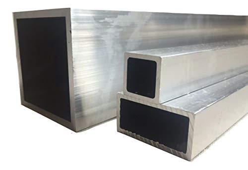 Aluminium-Vierkantrohr, rechteckig, 2m lang, 20 mm x 20 mm x 1.5 mm x 2000 mm, 1