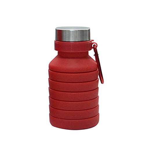 Zzple Creative Travel Folding Water Cup Silicone Outdoor Sports Bottle Black Retractable Water Cup Silicone Retractable Water Bottle (Color : Red, Size : 550ml)