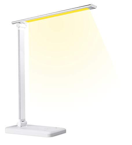 Schreibtischlampe LED mit 5 Farben und 5 Helligkeitsstufen, Augenschutz Tischleuchte mit USB Ladeanschluss, Memory-Funktion, Touchfeldbedienung für Büro, Lesen, Studieren