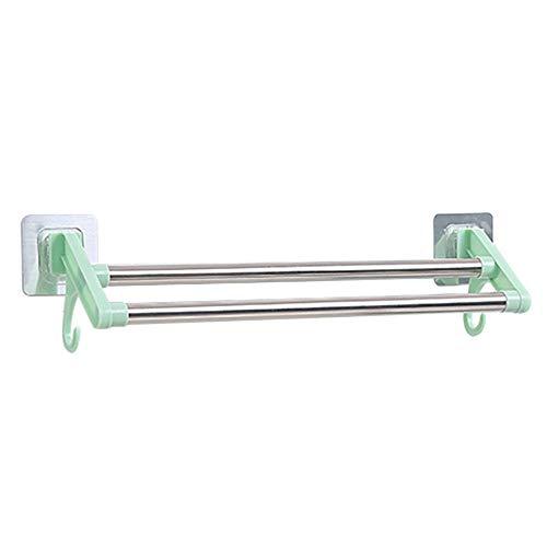 ZaiHuiShou 2 lagen roestvrij staal badkamer douche handdoek rek houder muur montage lijm geen boren organisator Hanger keuken staaf bar plank