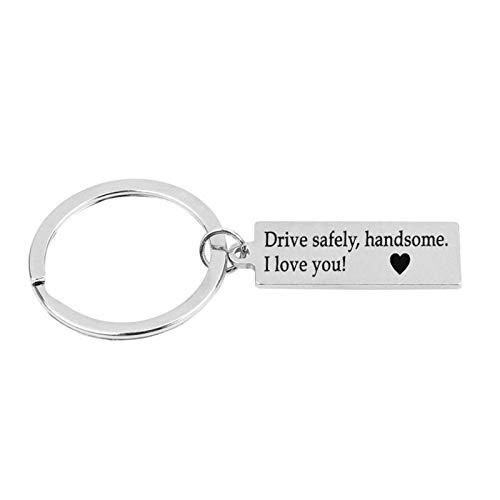 AmDxD Porte-Clés, Porte Clef Acier Inoxydable Rectangle Gravure Drive Safely Handsome, i Love You 37x17mm, Argent, 3.7 X 1.7CM