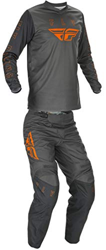 Fly Racing Mens LG Grey/Orange F-16 Jersey and Pants Combo Kit 2021 Dirt Bike ATV MX SxS UTV