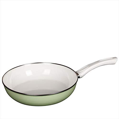 Riess, 0057-031, Ceramic Glas Pfanne GREEN 28, NOUVELLE CERAMIC GLAS PFANNEN, Durchmessser 28 cm, Höhe 6,5 cm, Inhalt 2,2 Liter, Emaille, grün