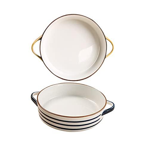 liangzishop Conjunto de Platos para Hornear de cerámica de 2, Cintas de Hornear Redondas con asa para la Cena de Pastel, Banquete y Cocina Diaria, PANTES Pintados a Mano 2 Pieza (Color : C)
