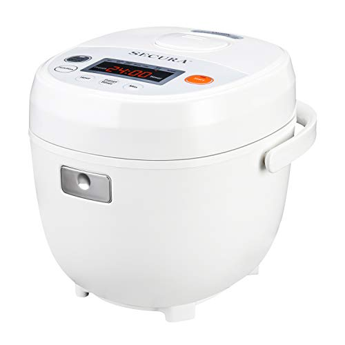 Secura Premium 4-Cup(Cooked) 7-in-1 Rice Cooker w/Advanced Fuzzy Logic Control, Cake, Rice, Quick Rice, Multigrain, Steam, Slow Cook and Reheat