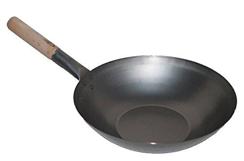 AAF Nommel ®, Wok Pfanne ca. Ø 33 cm Flacher Boden für Gas, Induktion, Ceran und Elektro, mit Holzgriff