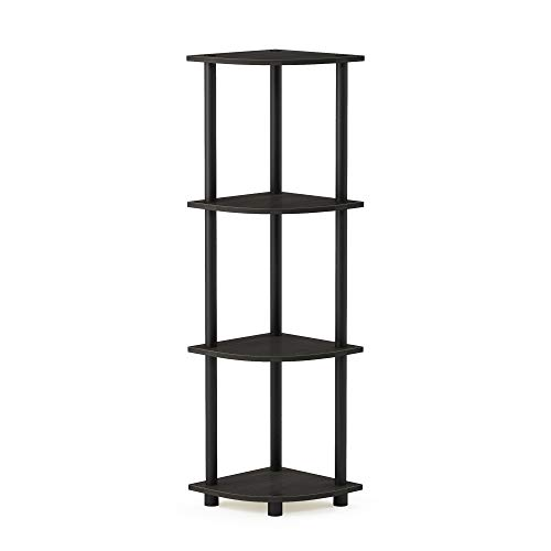 Furinno 12078EX/BK Turn-n-Tube Multipurpose 4-Tier Corner Shelf, Espresso/Black