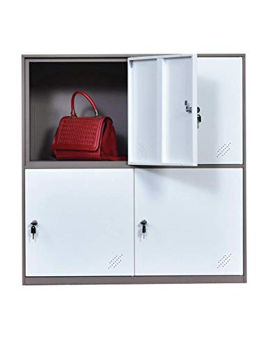 Kids Living Room Locker 4 Door Metal Locker Small Size Storage for School Bags Shoes and Toy (White)