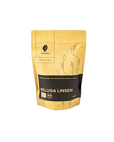 Edelgrün Bio Belgua Linsen 0,5 kg  schwarz, vegan, getrocknet, vegetarisch   black kaviar getrocknete, harte, schwarze belugalinsen   hülsenfrüchte gesund und natürlich lecker, zum essen im Eintopf
