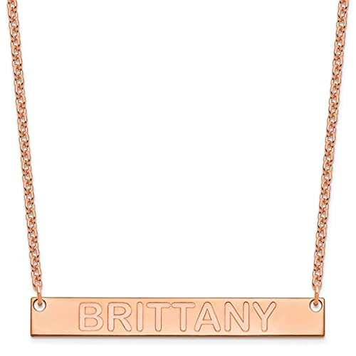 Jewelry-SS/Rose-plated Large Polished Capitalized Arial Rounded Bar Necklace