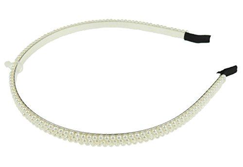 Mesdames filles fausse perle mariée demoiselle d'honneur étroit bandeau Alice bande 3 rangées