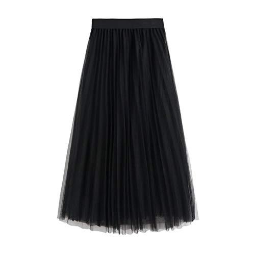 WAFA Damen Tüllrock Tüllrock Tüllrock Plissiert Maxi-Chiffon Petticoat Hohe elastische Taille Midirock Fließender großer Saum, Schwarz
