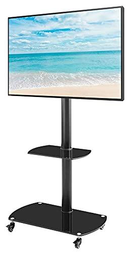 TabloKanvas Soporte para TV de 2 niveles de vidrio templado en altura y ángulo ajustable piso con ruedas bloqueables Soporte para TV móvil (color negro)