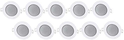 Set van 10 - inbouwluidspreker volledig metaal 3W - inbouw Ø 60mm - montage klem - halogeen ontwerp - wit