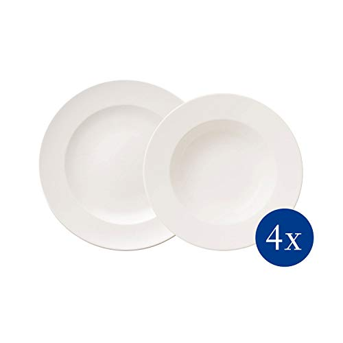 Villeroy & Boch - For Me Dinner-Set, 8 tlg., das Allround-Talent, Premium Porzellan, spülmaschinen-, mikrowellengeeignet, weiß
