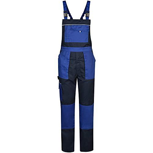 BWOLF Alpha Latzhose Herren Arbeitshose Schutz-Latzhose mit multifunktionalen Seitentaschen, Rückentaschen Blau (L)