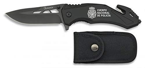 Mango de Aluminio Hoja de 6.5 cm Tiendas LGP Albainox 19627AGR1074- Navaja asistida Seguridad Escudo Policia Nacional CNP Funda de Nylon Gris