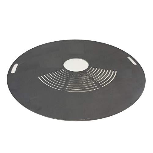 SRM-Design Feuerplatte Grillplatte Ø 80cm Materialstärke 5mm innen Griffe Grillrost Barbecue Holzkohle-Grill Fassgrill Kugelgrill Feuertonne Stahlfass BBQ