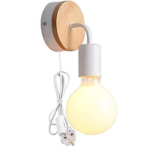 Set met 2 minimalistische lampen, wandlamp van hout en ijzeren plaat voor slaapkamer, kast, kast Set di 1 Weiß