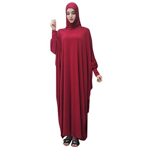 Lazzboy Muslim Frauen Einfarbig Kopfbedeckungen Moschee Fledermaus ärmel Strickjacke Ramadan Kleid Ethnische Roben Damen Sommer Muslimische Kleider Spitze Getrimmt Vorne Abaya Maxi Kaftan(Rot)