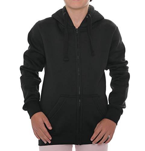 ROCK-IT Apparel® Kinder Kapuzenjacke Hoodie Kapuzen Sweaterjacke Pullover Zipper Hoody Größen 98 - 164 Farbe Schwarz 110/116