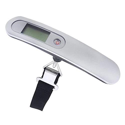 Shiwaki Báscula de Equipaje Colgante Digital de Mano, báscula de Equipaje de 110LB para Viajar con Pantalla LCD retroiluminada, báscula de Peso portátil con - de Plata