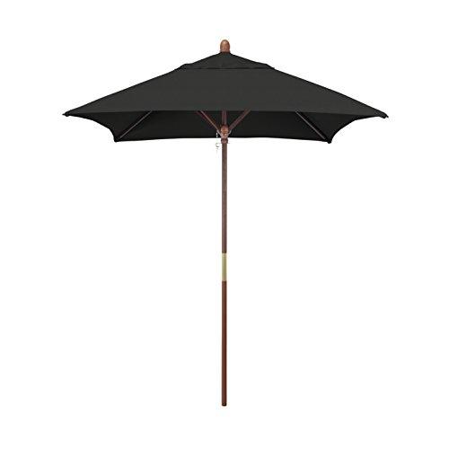 California Umbrella 6' Sq Wooden Market Umbrella, Push Open Pin Stop , Sunbrella Black