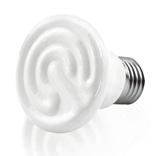 Bonlux E27 - Transmisor calefactor para animales, bombilla de 75 W, 60 x 70 mm, emisor de cerámica, luz de rayos infrarrojos de cerámica, lámpara reptil para anfibios, serpiente, pájaros, tortuga