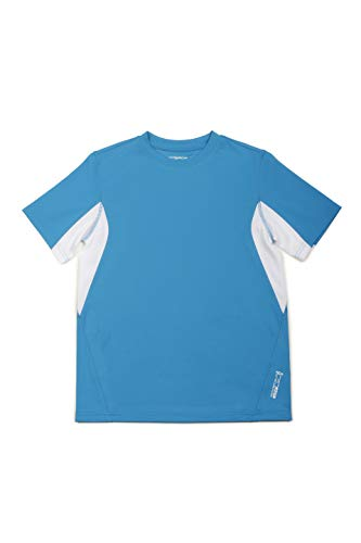 ZeroXposur Youth Boys Downdrift Swim Shirt Sun Protection Swimming Rashguard Top UPF 50 + Deep Aqua XL-14/16