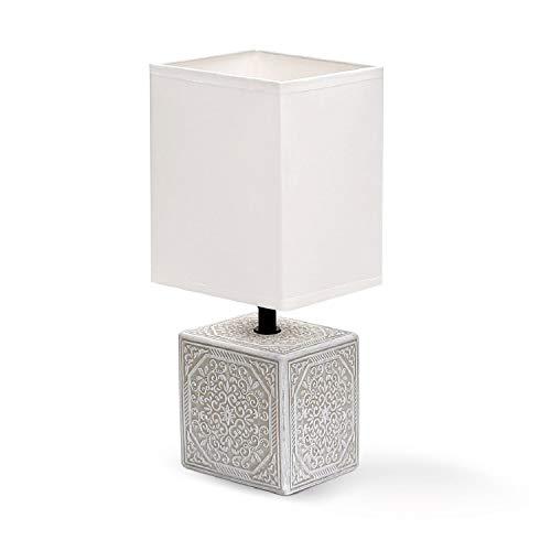 Aigostar - Lámpara de mesa, cuerpo cuadrado con grabado, pantalla de tela cuadrada color blanco, Lámpara de cerámica E14. Perfecta para el salón, dormitorio o recibidor.Beige Cuadrada, H30cm