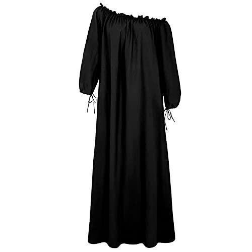 Vestido de Verano con Mangas Casual Color sólido Tallas Grandes Collar Vestido de Verano Mujeres Vestidos Cortos de graduación L