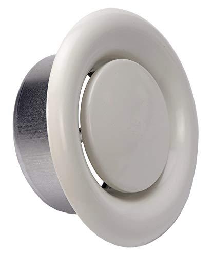 Plafondventilatierooster Rond 150 mm, Schijfklep, Inlaatlucht, Witte Ventilatie Plafondrooster Rond, met de Klok Mee / Tegen de Klok in Plafondluchtventiel, Geregelde Schijfklep.