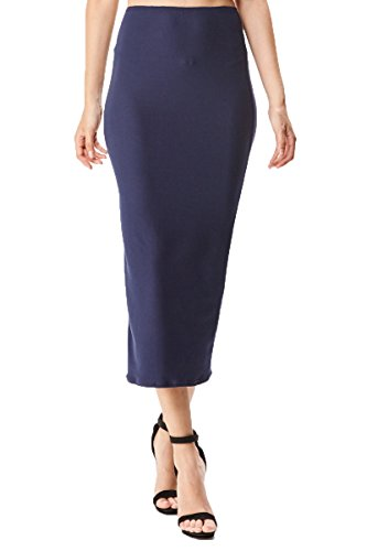 Women's Midi Long Stretchy Bodycon Pencil Skirt, Small, Navy Brushed Stretchy