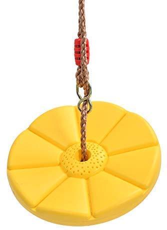 Sutekus Disc Swing Daisy Disc Swing Monkey Swing Rope Plastic Tree Swing (Yellow)