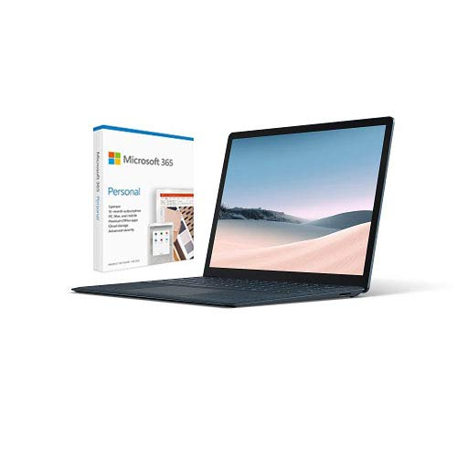 Microsoft Surface Laptop 3 13.5' Intel Core i7 16GB RAM 256GB SSD Cobalt Blue with Alcantara + Microsoft 365 Personal 1 Year Subscription for 1 User