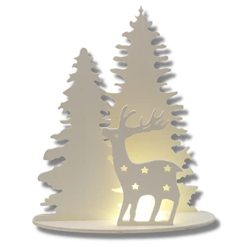 PEKIEDO - Árbol de Navidad con reno de madera | Estructura adornos...