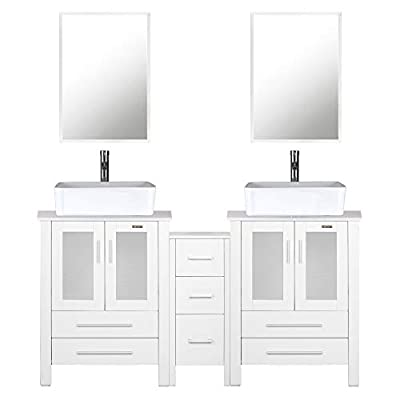 "60"" Bathroom Vanity (2 x 24 Vanity,2 x Porcelain Vessel Basin Sink,1 x 12 Side Cabinets),Double Bathroom Vanity Top with Porcelain Vessel Sink,1.5 GPM Faucet/Drain Parts/Mirror Includes(White)"