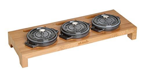STAUB Servierbrett für 3 Mini-Cocottes 42 x 16 cm, Holz, 42 x 16 x 5 cm