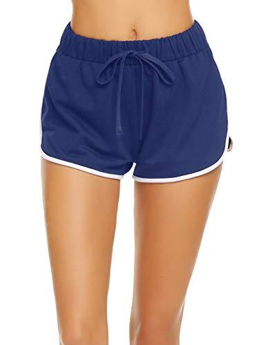 Avidlove Damen Kurze Hose Shorts Schlafanzughose Schlafhose Yoga Sporthose Running Gym Beiläufige Elastische Shorts, Dunkelblau, Gr. S(34-36)