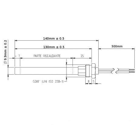 longitud 160mm resistencia encendido estufa de pellet di/ámetro 10mm bujia encendido 3//8 pulgada 140 150 160 170 180 mm 220v 280w
