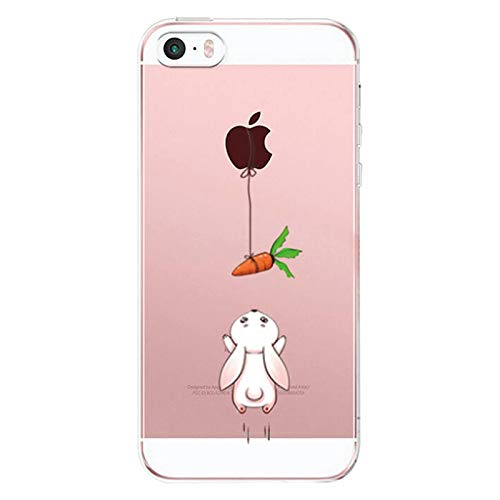 Caler Hülle Kompatibel/Ersatz für iPhone SE/5S/5 Hülle Silikon Transparente Ultra Slim TPU dünne stoßfeste mit Motiv Tasche Etui Schutzhülle Hülle Cover(Kaninchen Karotte)