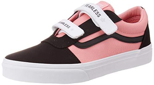 Vans Ward V-Velcro Canvas Sneaker, Mehrfarbig ((Fearless) Black/pink Icing WG8), 34.5 EU