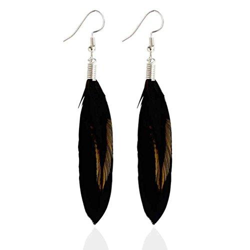 forbestest Pluma negra multicolor cuelga los pendientes Bohemia Folk Style Silver Color Drop Pendientes 6 * 3cm (negro)