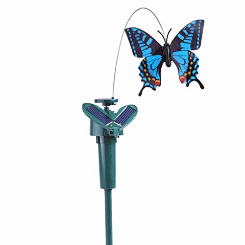 Mariposa de acanalamiento solar, doble (solar/batería) de potencia, mariposa voladora de baile, exterior o interior, funciona con energía solar o funciona con pilas, decoración de jardín