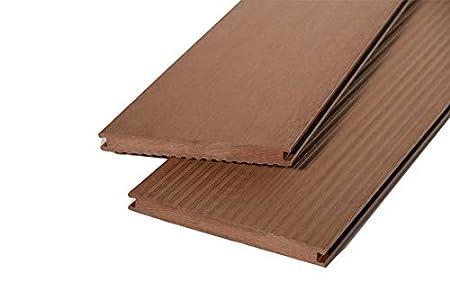 Muestras del producto - WoodoKosXXL - Tablón de suelo para terraza (20 x 200 mm, superficie estriada y lisa, reversible), color marrón